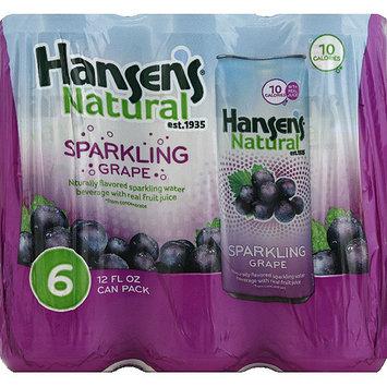 Hansen's Naturals Grape Sparkling Water Beverage, 12 oz, 6 count, (Pack of 4)