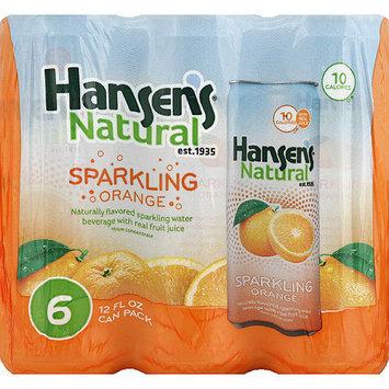 Hansen's Naturals Orange Sparkling Water Beverage, 12 oz, 6 count, (Pack of 4)