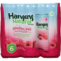 Hansen's Naturals Raspberry Sparkling Water Beverage, 12 oz, 6 count, (Pack of 4)