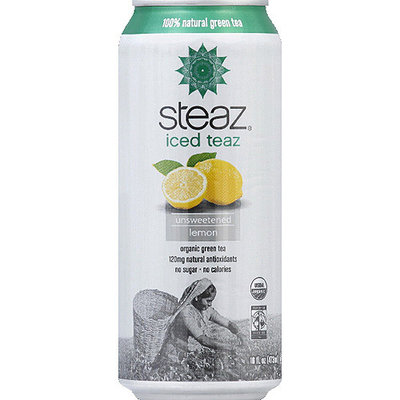 Steaz Iced Teaz Unsweetened Lemon Organic Green Tea, 16 fl oz, (Pack of 12)
