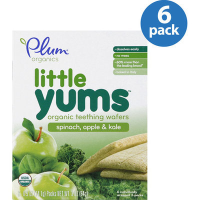 Plum Organics Little Yums Spinach, Apple & Kale Organic Teething Wafers, 0.5 oz, 6 count, (Pack of 6)