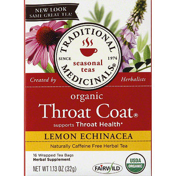 Traditional Medicinals Seasonal Throat Coat Lemon Echinacea Tea Herbal Supplement, 16 count, 1.13 oz, (Pack of 6)