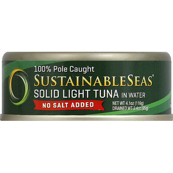 Sustainable Seas No Salt Added Solid Light Tuna Packed in Water, 4.1 oz, (Pack of 12)