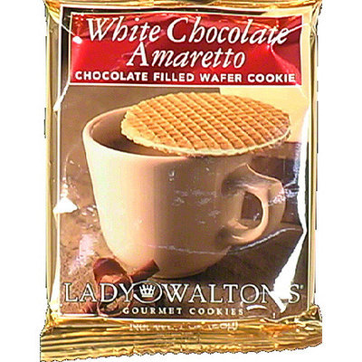 Lady Walton's White Chocolate Amaretto Chocolate Filled Wafer Cookie, 1 oz, (Pack of 30)