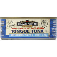 Crown Prince Chunk Light No Salt Added Tongol Tuna in Spring Water, 5 oz, (Pack of 12)