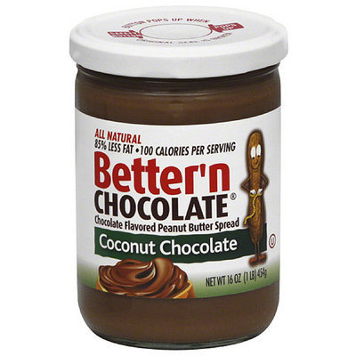 Better N Peanut Butter Better'n Chocolate Coconut Chocolate Flavored Peanut Butter Spread, 16 oz, (Pack of 6)