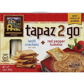 Mediterranean Snacks Tapaz 2 Go Lentil Crackers + Red Pepper Hummus, 3.6 oz, (Pack of 6)