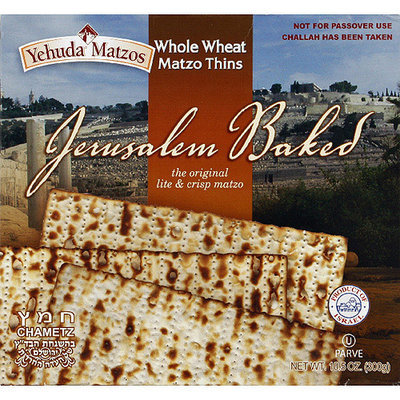 Yehuda Matzos Jerusalem Baked Whole Wheat Matzo Thins, 10.5 oz, (Pack of 6)