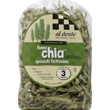 Al Dente Bona Chia Spinach Fettuccine Pasta, 10 oz, (Pack of 6)