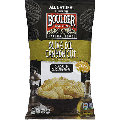 Boulder Canyon Olive Oil Canyon Cut Sea Salt & Cracked Pepper Potato Chips, 6 oz, (Pack of 12)