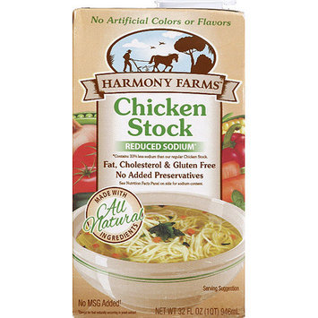 Harmony Farms Reduced Sodium Chicken Stock, 32 fl oz, (Pack of 12)