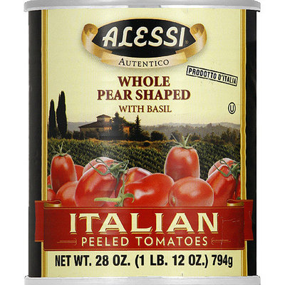 Alessi Whole Pear Shaped Italian Peeled Tomatoes with Basil, 28 oz, (Pack of 12)