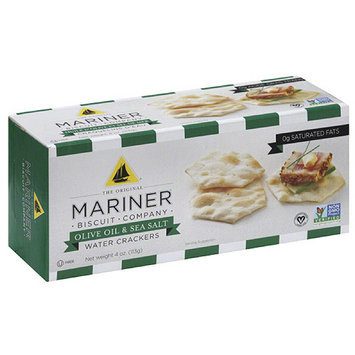 The Original Mariner Biscuit Company Olive Oil & Sea Salt Water Crackers, 4 oz, (Pack of 12)