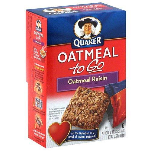 Quaker Oatmeal to Go Oatmeal Raisin Breakfast Bars, 2.1 oz, 6 count, (Pack of 12)