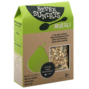 Seven Sundays Ginger, Pear, Macadamia Muesli, 12 oz, (Pack of 6)