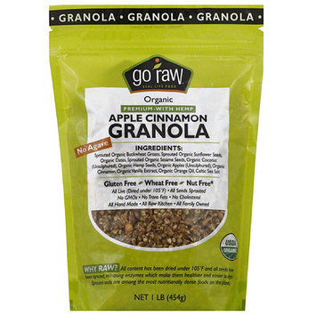 Go Raw Organic Apple Cinnamon Granola Premium with Hemp, 1 lb, (Pack of 6)