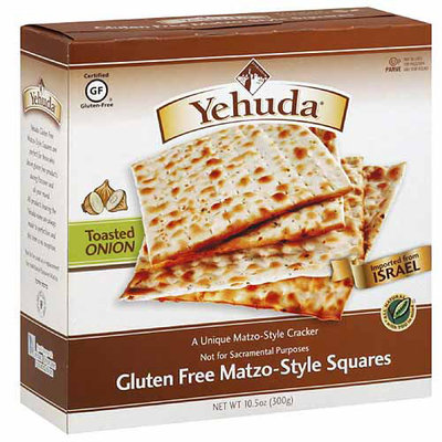 Yehuda Toasted Onion Gluten Free Matzo-Style Squares Crackers, 10.5 oz, (Pack of 12)