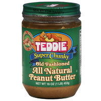 Teddie Super Chunky Old Fashioned All Natural Peanut Butter, 16 oz, (Pack of 12)