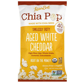 LesserEvil Chia Pop Aged White Cheddar Popcorn, 5 oz, (Pack of 12)