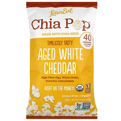LesserEvil Chia Pop Aged White Cheddar Popcorn, 5 oz, (Pack of 12)