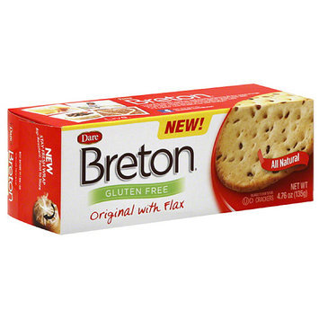 Dare Breton Gluten Free Original Crackers with Flax, 4.76 oz, (Pack of 6)