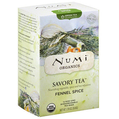 Numi Teas Numi Organics Savory Tea Fennel Spice Decaffeinated Green Tea Bags, 12 count, (Pack of 6)