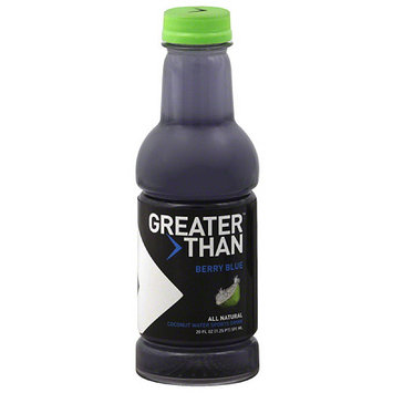 Greater Than Berry Blue Coconut Water Sports Drink, 20 fl oz, (Pack of 12)