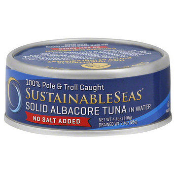 Sustainable Seas No Salt Added Solid Albacore Tuna in Water, 4.1 oz, (Pack of 12)