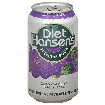 Diet Hansen's Diet Grape Premium Soda, 12 fl oz, 6 pack, (Pack of 4)