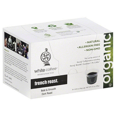 White Coffee French Roast Single-Serve Filter Coffee, 10 count, (Pack of 4)