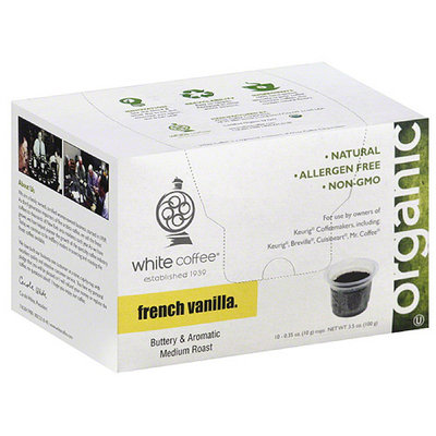 White Coffee Organic French Vanilla Coffee, 3.5 oz, (Pack of 4)