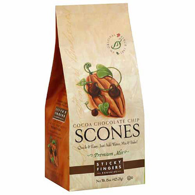 Sticky Fingers Bakeries Cocoa Chocolate Chip Scone Mix, 15 oz, (Pack of 6)