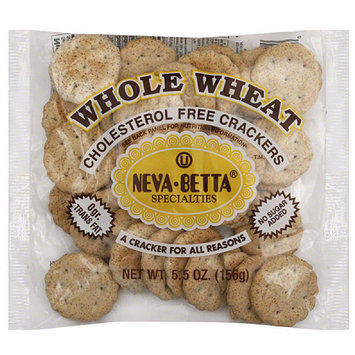Neva Betta Specialties Whole Wheat Cholesterol Free Crackers, 5.5 oz, (Pack of 36)