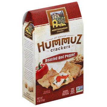Mediterranean Snacks Hummuz Roasted Red Pepper Crackers, 4 oz, (Pack of 6)