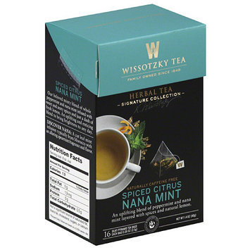 Wissotsky Wissotzky Tea Spiced Citrus Nana Mint Herbal Tea Bags, 16 count, 1.4 oz, (Pack of 6)