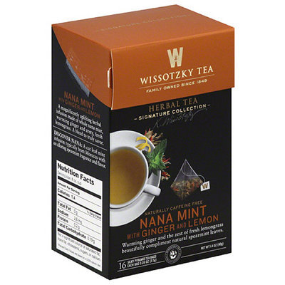 Wissotsky Wissotzky Tea Nana Mint with Ginger and Lemon Herbal Tea Bags, 16 count, 1.4 oz, (Pack of 6)