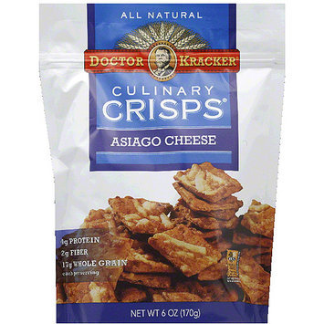 Doctor Kracker Culinary Crisps Asiago Cheese Crackers, 6 oz, (Pack of 6)