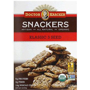 Doctor Kracker Klassic 3 Seed Snackers Crackers, 6 oz, (Pack of 6)
