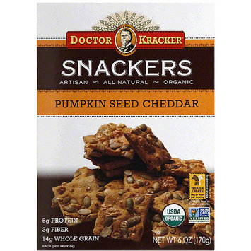 Doctor Kracker Snackers Pumpkin Seed Cheddar Crackers, 6 oz, (Pack of 6)