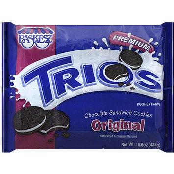 Paskesz Trios Original Chocolate Sandwich Cookies, 15.5 oz, (Pack of 12)
