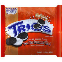 Paskesz Trios Double Cream Filled Chocolate Sandwich Cookies, 15.35 oz, (Pack of 12)