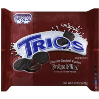 Paskesz Trios Fudge Filled Chocolate Sandwich Cookies, 15.25 oz, (Pack of 12)
