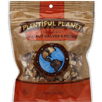 Plentiful Planet Raw Walnut Halves & Pieces, 6 oz, (Pack of 6)