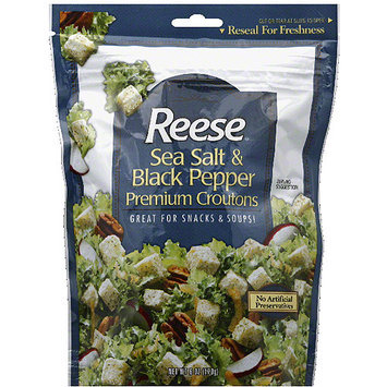 Reese Sea Salt & Black Pepper Premium Croutons, 8 oz, (Pack of 12)