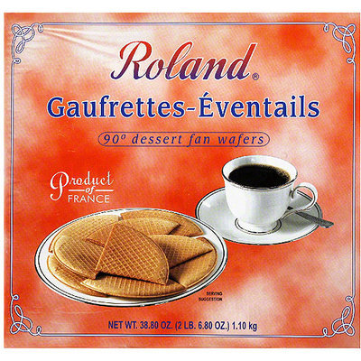 Roland Gaufrettes-Eventails 90 Degree Dessert Fan Wafers, 38.80 oz, (Pack of 4)