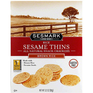 Sesmark Sesame Thins Brown Rice All Natural Snack Crackers, 3.2 oz, (Pack of 6)
