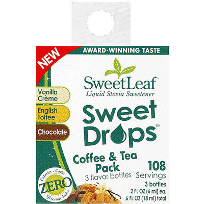 Sweetleaf Stevia SweetLeaf Sweet Drops Coffee & Tea Liquid Stevia Sweetener, 0.6 fl oz, (Pack of 6)