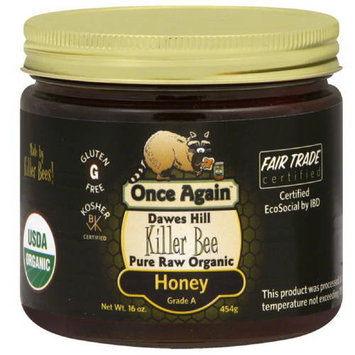 Once Again Dawes Hill Killer Bee Pure Raw Organic Honey, 16 oz, (Pack of 6)
