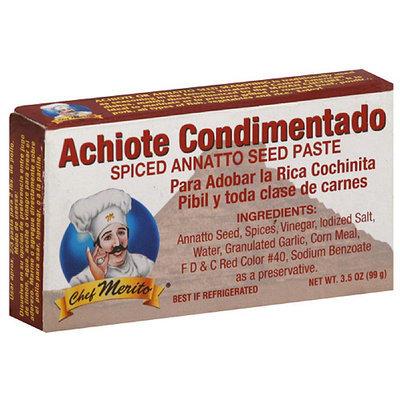 Chef Merito Achiote Condimentado Spiced Annatto Seed Paste, 3.5 oz, (Pack of 12)