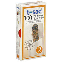 T-Sac Tea Filters, Size 2, 100 count, (Pack of 6)